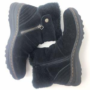 Baretraps Amelya Black Suede Faux Fur Lined Boots